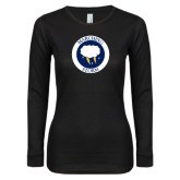 Ladies Black Long Sleeve V Neck T Shirt-Marching Storm Cloud Circle