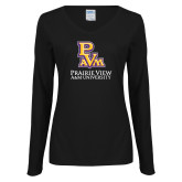 Ladies Black Long Sleeve V Neck Tee-PVAM Stacked