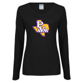 Ladies Black Long Sleeve V Neck Tee-PVAM Texas