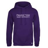 Russell DriPower Purple Fleece Hoodie-Word Mark Stacked