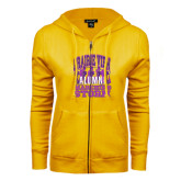 ENZA Ladies Gold Fleece Full Zip Hoodie-Praire View marching Storm w/ Majors