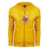 ENZA Ladies Gold Fleece Full Zip Hoodie-PVAM Marching Band Seal