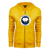 ENZA Ladies Gold Fleece Full Zip Hoodie-Marching Storm Cloud Circle