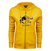 ENZA Ladies Gold Fleece Full Zip Hoodie-Black Fox Alumni
