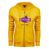 ENZA Ladies Gold Fleece Full Zip Hoodie-Future Twirling Thunder