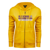 ENZA Ladies Gold Fleece Full Zip Hoodie-Old School w/ Cloud