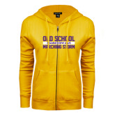 ENZA Ladies Gold Fleece Full Zip Hoodie-Old School Marching Storm Stacked