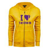 ENZA Ladies Gold Fleece Full Zip Hoodie-I Heart The Storm
