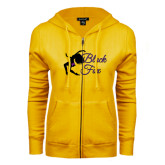 ENZA Ladies Gold Fleece Full Zip Hoodie-Black Fox Logo