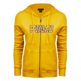 ENZA Ladies Gold Fleece Full Zip Hoodie-PVAMU Black Fox Overlap