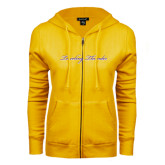 ENZA Ladies Gold Fleece Full Zip Hoodie-PVAMU Twirling Thunder Logo