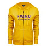 ENZA Ladies Gold Fleece Full Zip Hoodie-PVAMU Twirling Thunder Script