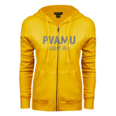 ENZA Ladies Gold Fleece Full Zip Hoodie-PVAMU Black Fox Script