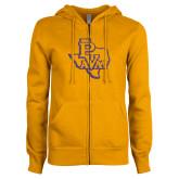 ENZA Ladies Gold Fleece Full Zip Hoodie-PVAM Texas Purple Glitter