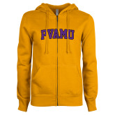 ENZA Ladies Gold Fleece Full Zip Hoodie-Arched PVAMU