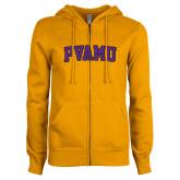 ENZA Ladies Gold Fleece Full Zip Hoodie-Arched PVAMU