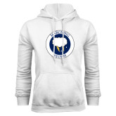White Fleece Hoodie-Marching Storm Cloud Circle
