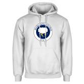 White Fleece Hoodie-Marching Storm Cloud Circle - Fan