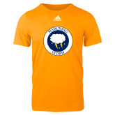 Adidas Gold Logo T Shirt-Marching Storm Cloud Circle