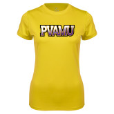 Ladies Syntrel Performance Gold Tee-PVAMU