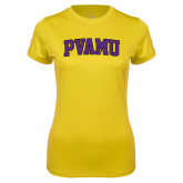 Ladies Syntrel Performance Gold Tee-Arched PVAMU