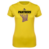 Ladies Syntrel Performance Gold Tee-Basketball Design