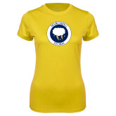 Ladies Syntrel Performance Gold Tee-Marching Storm Cloud Circle