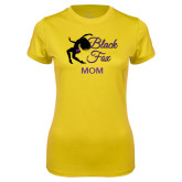 Ladies Syntrel Performance Gold Tee-Black Fox Mom