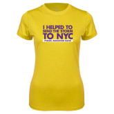 Ladies Syntrel Performance Gold Tee-The Storm To NYC Stacked
