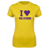 Ladies Syntrel Performance Gold Tee-I Heart The Storm