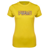 Ladies Syntrel Performance Gold Tee-PVAMU Black Fox Overlap