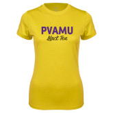 Ladies Syntrel Performance Gold Tee-PVAMU Black Fox Script