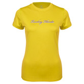 Ladies Syntrel Performance Gold Tee-PVAMU Twirling Thunder Logo