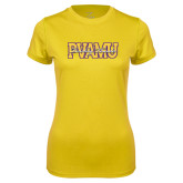 Ladies Syntrel Performance Gold Tee-PVAMU Twirling Thunder Overlap
