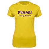 Ladies Syntrel Performance Gold Tee-PVAMU Twirling Thunder Script