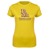 Ladies Syntrel Performance Gold Tee-PVAM Stacked