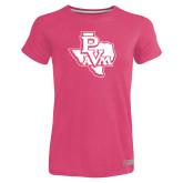 Ladies Russell Pink Essential T Shirt-PVAM Texas