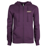 ENZA Ladies Purple Fleece Full Zip Hoodie-PVAMU