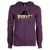 ENZA Ladies Purple Fleece Full Zip Hoodie-Official Logo