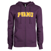 ENZA Ladies Purple Fleece Full Zip Hoodie-Arched PVAMU