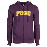 ENZA Ladies Purple Fleece Full Zip Hoodie-Arched PVAMU