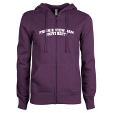 ENZA Ladies Purple Fleece Full Zip Hoodie-Arched Prairie View A&M