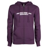 ENZA Ladies Purple Fleece Full Zip Hoodie-Arched Prairie View A&M