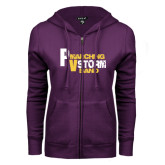 ENZA Ladies Purple Fleece Full Zip Hoodie-PV Marching Storm Band