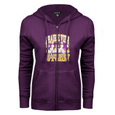 ENZA Ladies Purple Fleece Full Zip Hoodie-Praire View marching Storm w/ Majors