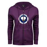 ENZA Ladies Purple Fleece Full Zip Hoodie-Marching Storm Cloud Circle