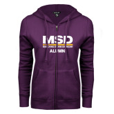 ENZA Ladies Purple Fleece Full Zip Hoodie-MSD Alumni