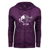 ENZA Ladies Purple Fleece Full Zip Hoodie-Black Fox Mom