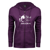 ENZA Ladies Purple Fleece Full Zip Hoodie-Black Fox Grandma