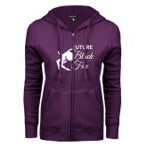 ENZA Ladies Purple Fleece Full Zip Hoodie-Future Black Fox